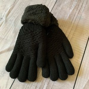 Plush Lined Gloves with Faux Fur Cuffs, OS